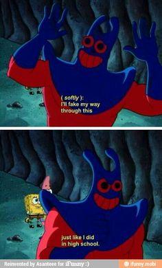 The older I get the more relatable SpongeBob gets Funny Spongebob Memes, Funny Relatable Memes, Funny Jokes, Hilarious, Man Ray Spongebob, Cartoon Memes, Mermaid Man, Pineapple Under The Sea, Funny Pins
