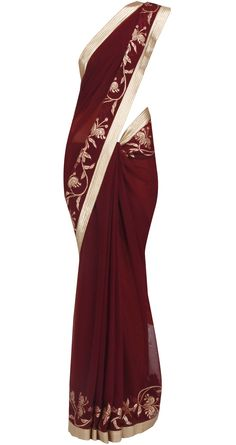 Applique with sequins work on wine color saree taraanacouture@gmail.com