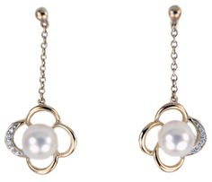 HOLIDAY SALE $134.25 Pearl and Diamond Flower 14k Yellow Gold Dangle Earrings | Jewelry District