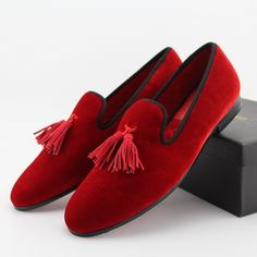 2fb99cd3b19 Men Wine-Red Velvet tassel Handmade Loafers by nanaloafers Red Loafers