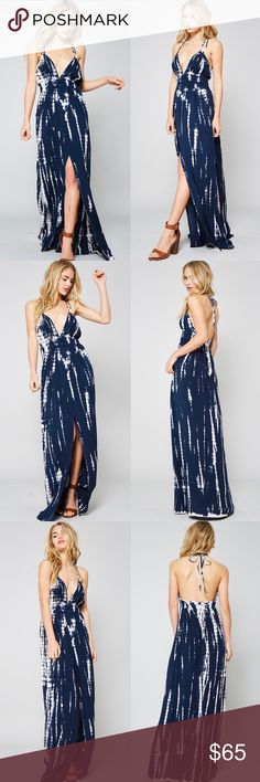 POPPY tie dye maxi dress - NAVY A tie dye maxi dress with a plunging neckline with a elasticized smocked waist line and cami straps. This dress is made with medium weight tie-dyed fabric that has very beautiful patterns. Soft, drapes well and stretches very well.  NO TRADE, PRICE FIRM Bellanblue Dresses Maxi