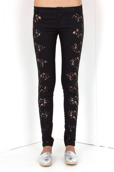 Black cotton-blend trousers from Philipp Plein featuring a low rise, a waistband with belt loops, a concealed front fastening, two rear patch pockets with a silver-tone logo plaque, a skinny fit and floral lace side panels. This item is true to fit. Shop this seasons collection of Philipp Plein womenswear. Philipp Plein is pure luxury, with his latest womenswear collection embodying the designers rebel.