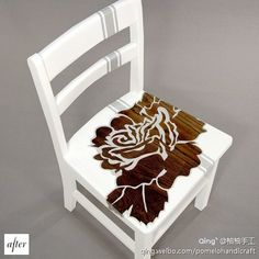 furniture makeover- a neat way to us negative space while leaving parts of the natural wood to show through!