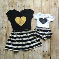 153b386c144 Big Sister   Little Sister Striped Outfit. Sister ShirtsSibling ShirtsBaby  Girl RomperMatching ...