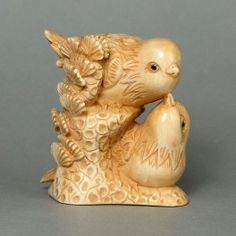 Mammoth Ivory Netsuke Two Birds On Tree Carving N4577 at www.tide-mammoth.com