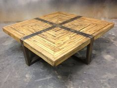 Industrial Square Salvaged Butcher-Block Wood and Metal Coffee Table, Modern and Rustic on Etsy, $849.00