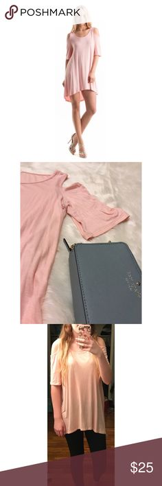 Baby pink cold shoulder tunic Give winter the cold shoulder in this free flowing tunic! Perfect for spring, pale baby pink  I also have this in the dusty blue color! Fashionomics Tops Tunics