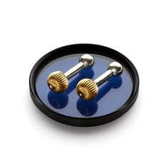 Gold plated sterling silver 'Uranus' push-through cufflinks. Part of the Roderick Vere Planetary Collection. Statement Jewelry, Plating, Cufflinks, Sterling Silver, Gold, Accessories, Collection, Products, Wedding Cufflinks