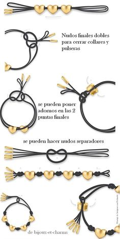 Cute leather and beads tutorial ideas - Como Combinar Nudos en Bisuteria. Leather Jewelry, Leather Cord, Wire Jewelry, Jewelry Crafts, Beaded Jewelry, Jewelery, Jewelry Bracelets, Handmade Jewelry, Jewelry Knots