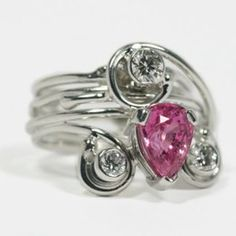 18ct White Gold 'Pucci Twister' Pink Sapphire & Diamond Ring From £4680 (by Jane Watling) Photography by Gillian McCance Watlings of Lacock www.watlings.com