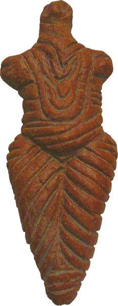 Venus de Roumanie. Culture de Cucuteni, Néolithique, ca -5000  BC.  Cucuteni culture pottery has imprints of nalbinding...