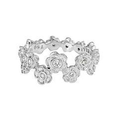 Paul Morelli 18k White Gold & Diamond Hydrangea Flower Band Ring $1,550