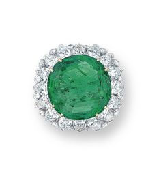 AN EMERALD AND DIAMOND RING, BY HARRY WINSTON  Set with a circular-cut emerald, within a pear and brilliant-cut diamond surround, mounted in platinum and 18k yellow gold, Signed Winston for Harry Winston
