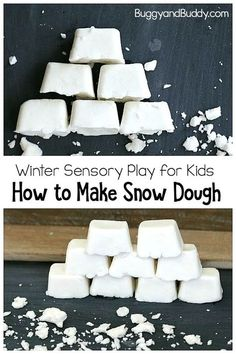 Make your own homemade snow dough! DIY white playdough with the perfect crumbly texture for pretend snow. Use it as a STEM activity for building or just a simple sensory play material! Winter Activities for Kids Snow Activities, Winter Activities For Kids, Winter Crafts For Kids, Winter Kids, Preschool Winter, Winter Crafts For Preschoolers, Winter Preschool Activities, January Preschool Themes, Playdough Activities