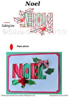 NOEL Iris Folding on Craftsuprint designed by Silvia Griffin - Easy cutting lines. Used a paper pieces in the (E) and (O). I used 2 colors to make it stand out. Pom Poms for the Holy and a little bow. Thanks for looking at my patterns. - Now available for download!