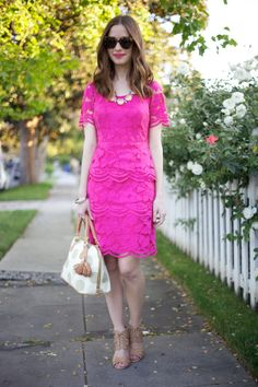 Magenta lace scalloped dress {M Loves M} Beautiful Outfits, Cool Outfits, Fashion Outfits, Summer Work Dresses, Spring Summer Trends, Spring Style, Maggy London Dresses, Scalloped Dress, Indie Fashion