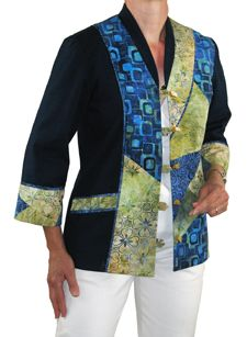 Quilted Art Jacket- Another pieced jacket for your collection, the Yin Yang Jacket Pattern has 3/4 sleeves. The back is pieced, too. Make up beautifully in cottons or garment fabrics.