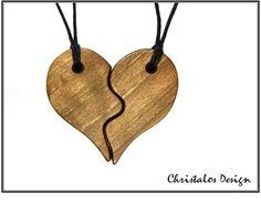 Nussbaumholz, 2 X Partnerschaft, paar Anhänger Herz  Größe 49x55mm, Dicke 6mm  Halskette, gewachst Akkord-2 X 90cm   Kostenloser Versand weltweit