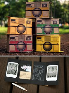 (via@photojojo) 1182. Pinhole Camera.It's a pinhole camera that shoots onto instant film and then opens up into a photo card that you can send to friends. @Amy Bagadonuts