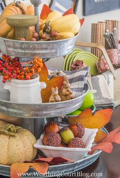 What to put in a tiered galvanized tray for fall