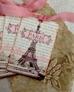 Paris Tags SEPIA AND PINK Vintage French Tags by CreativeVisions