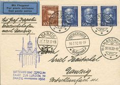 LUPOSTA-trip 1932, rear till Gdansk, card from Novel horn 30. 7. with amongst other things 3x 30 Rp. Gotthard train, flight stamp and arrival Gdansk 31. 7. on face, excellent condition  Dealer Auction house Ulrich Felzmann  Auction Minimum Bid: 80.00 EUR