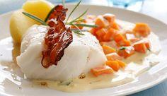DAGENS RETT: By på en skikkelig retro-rett til middag i dag - Aperitif. Cod Recipes, Fish Recipes, Seafood Recipes, Dinner Recipes, Fish Dishes, Seafood Dishes, Fish And Seafood, Just Cooking, Gourmet