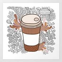 Doodle coffee cup Art Print by kostolom3000