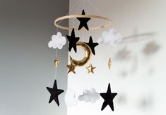 Black and Gold mobile starry night sky cot decoration clouds stars moon gold nursery baby sho. Black and Gold mobile starry night sky cot decoration clouds stars moon gold nursery baby shower gift decor kids bedroom crib mobile cute Check out th.
