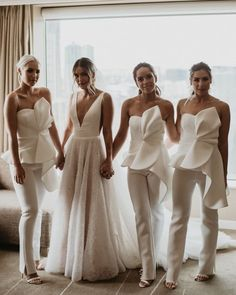 Just look at this beautiful bride with her bridesmaids in their jumpsuits!😍 Comment what you think💖⁠ . Photography by Bridal gown by Bridal Gowns, Wedding Dresses, Bouquet Wedding, Wedding Nails, Wedding Dress Gallery, Luxury Wedding Venues, Destination Wedding, Bridesmaid Outfit, Bridesmaid Jumpsuits