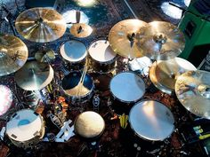 Abe Cunningham (Deftones)...thats one way to keep your pedals from moving. Lots of tape