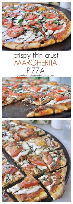 Crispy Thin Crust Margherita Pizza Recipe - active dry yeast, flour, sugar, salt, olive oil, dried oregano, dried basil, fresh basil, Roma tomatoes, salt, cornmeal, sliced mozzarella cheese, sliced tomatoes and balsamic vinegar.  ⓅⒾⓏⓏⒶ