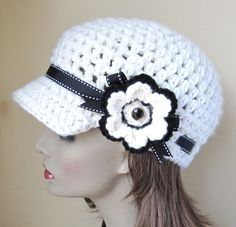 Womens Hat, Teen Adult Newsboy, Off White (Natural), Flower, Black Ribbon,   $38