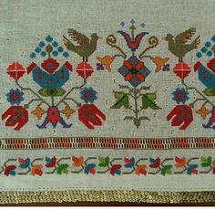 This Pin was discovered by Şen Embroidery Motifs, Cross Stitch Embroidery, Cross Stitch Patterns, Drawn Thread, Turkish Art, Bob Ross, Luxury Interior Design, Needle And Thread, Needlepoint