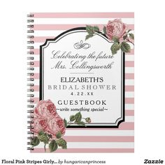 Floral Pink Stripes Girly Bridal Shower Guestbook
