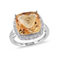 6 1/4 CT TGW Citrine and 1/8 CT TW Diamond 14K White Gold Fashion Ring