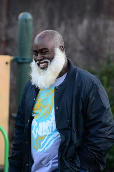 Magnificent white beard on this black guy!