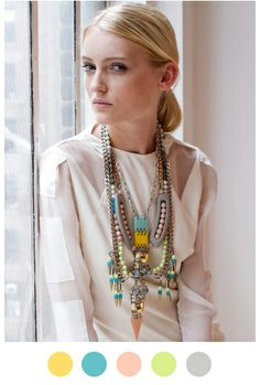 Color combination for the softer side of me. I would wear all of these colors in the spots. The necklace, not so much