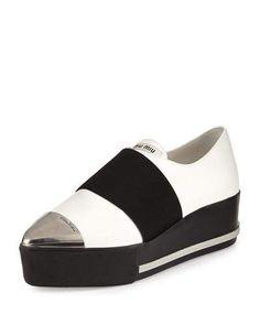 S0ET4 Miu Miu Metallic Cap-Toe Leather Sneaker, White (Bianco)