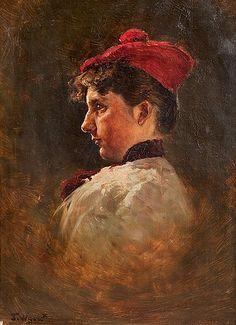 Profile of a girl - TYTÖN PROFIILI - Torsten Wasastjerna 1863-1924, oil on canvas Russian Painting, Figure Painting, Prinz Eugen, Oil On Canvas, Scandinavian, Profile, Painters, Portraits, Art
