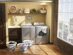Give your laundry room the farm-house feel. Put a sink and washer and dryer in a closet with a big barn door. Use a big piece of natural wood for a shelf, decorate with a plant and a mason jar or two. (If you get a front load washer you can get a folding table to put on top of washer and dryer for a countertop.)