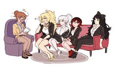 AU where RWBY are a new and popular girl group formed under…odd circumstances. Yang likes to flirt with lady interviewers. Weiss finds it annoying and time-wasting. Ruby is just nervous. Dc Anime, Rwby Anime, Rwby Fanart, Anime Kawaii, Anime Art, Cute Comics, Funny Comics, Yuri, Rwby Characters