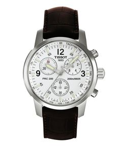 Tissot Watch, Men's Swiss Chronograph PRC 200 Brown Leather Strap T17151632