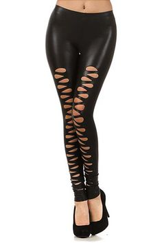 8b235353110 Front Slashed Faux Leather Leggings -  30.00 at WorldofLeggings.com -   WorldofLeggings Faux Leather