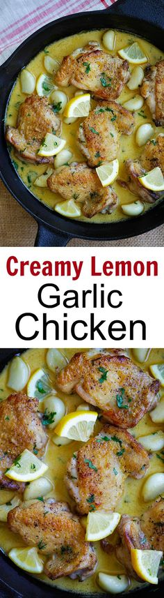 Creamy Lemon Garlic Chicken – crazy delicious skillet chicken with creamy lemon garlic sauce. So easy and dinner is ready in 20 mins | rasamalaysia.com