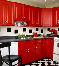 I really like the red cabinets...