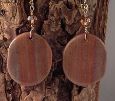 Sonata in Rose Gold, Translucent Polymer Clay Earrings by SusanDolphinDelaney
