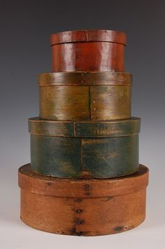Round Band Boxes. Bent, Painted & Stained Wood. American. Circa 19th Century.