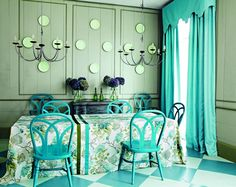 Floor in Farrow & Ball's Stone Blue Floor Paint, chairs in Stone Blue Estate Eggshell. Panelling in Vert de Terre.