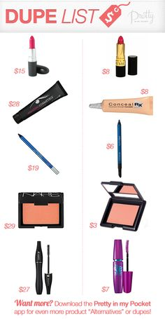 Makeup Dupe List! Find out our fave #makeup #dupes by clicking through..
